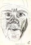 Autoportret caricatural. Tuş şi tempera
