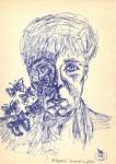 Autoportret îngrijorat cu fluturi. Cerneală albastră