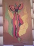 Floare în siajul lui William Blake. Ulei şi creion pe lemn