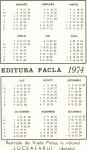 Verso-ul calendarului editat de tatăl meu în 1974