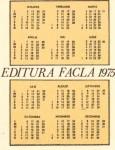 Verso-ul calendarului editat de tatăl meu în 1975